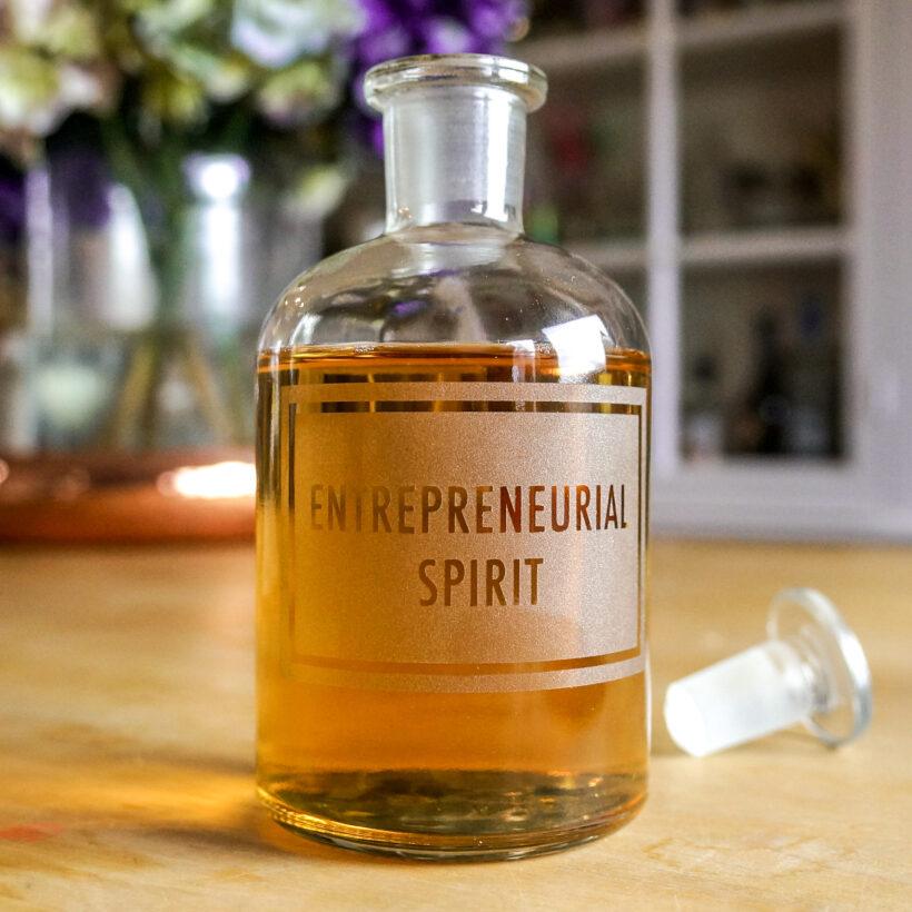 Entreprenurial Spirit - Etched bottle by Vinegar & Brown paper