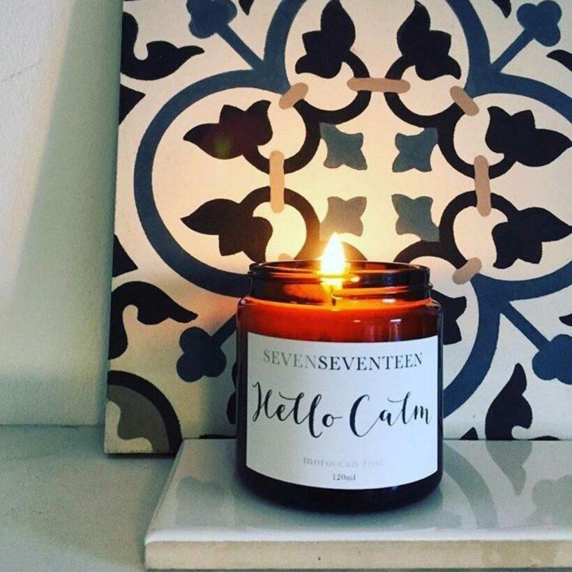 Hello Calm Moroccan Rose Candle by SevenSeventeen