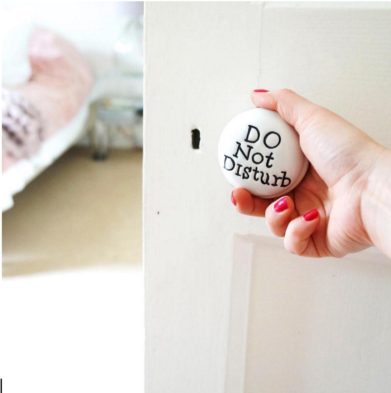 working from home do not disturb doorknob