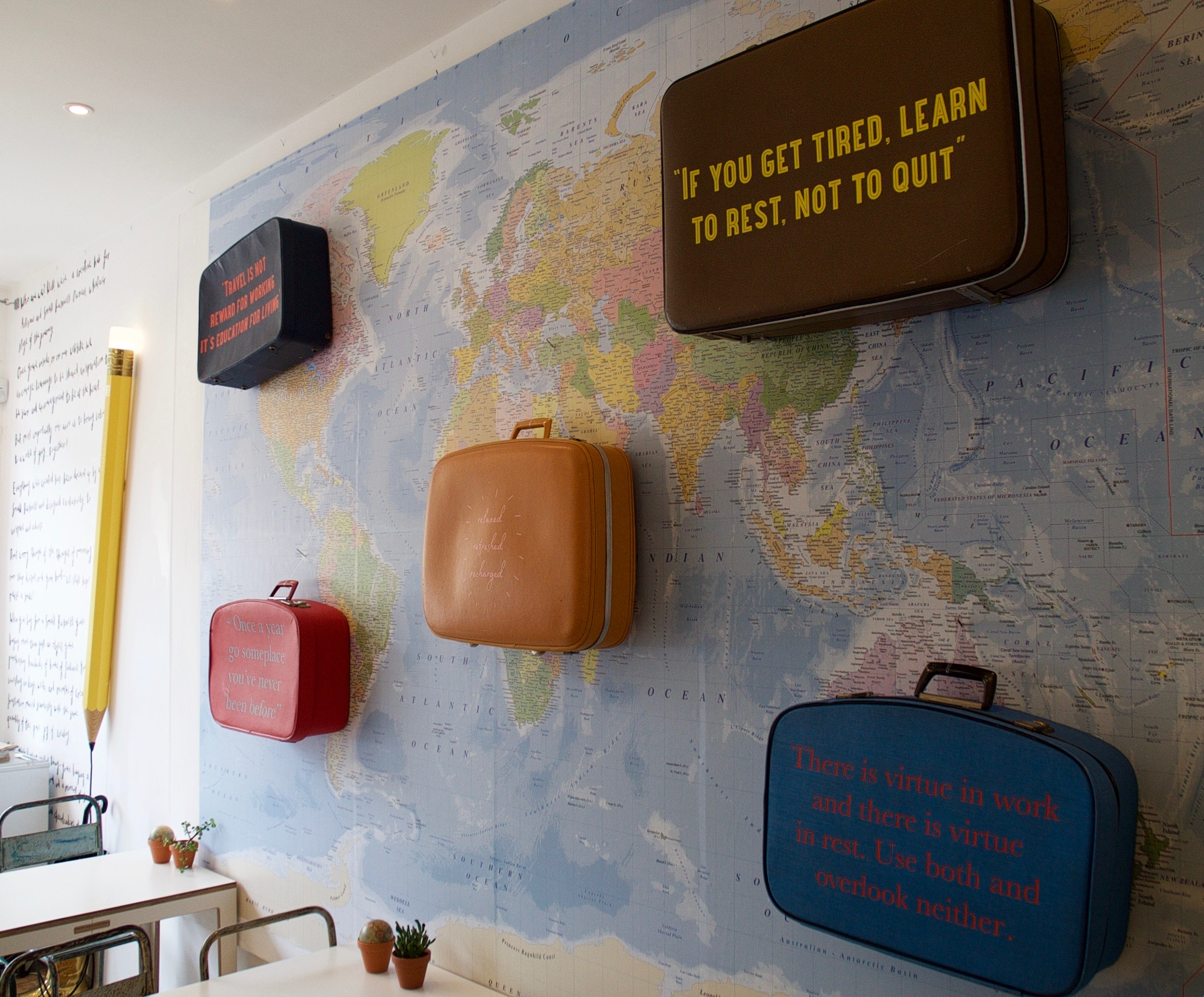 Summer holiday suitcases world map