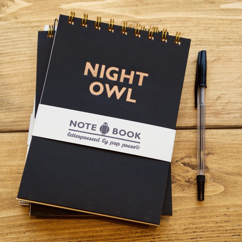 Night Owl Letterpressed Notebook by Pop Press