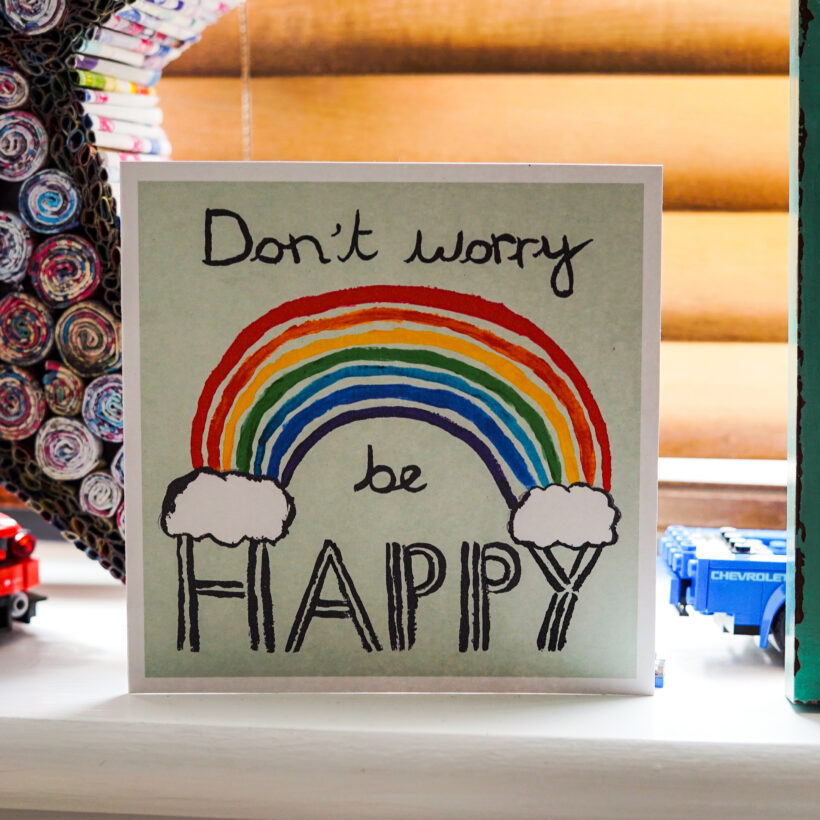 Don't Worry, Be Happy card by Molly - The Happy Rainbow