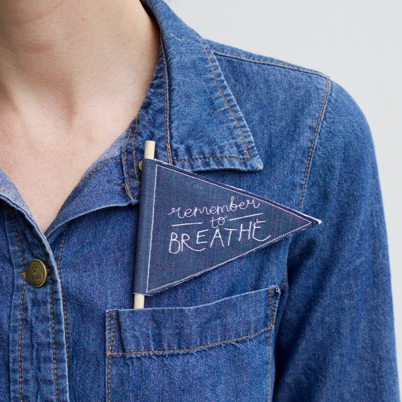 Remember to Breathe - embroidered mini flag by Emma Giacalone