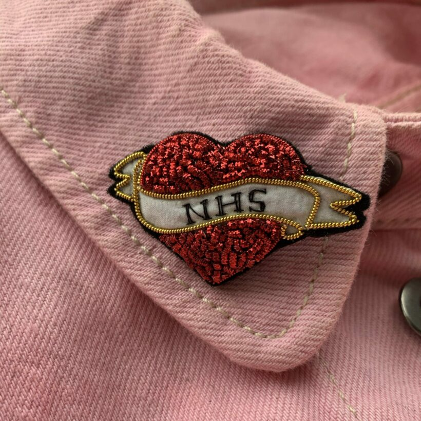 Hand Embroidered Heart Tattoo Brooch