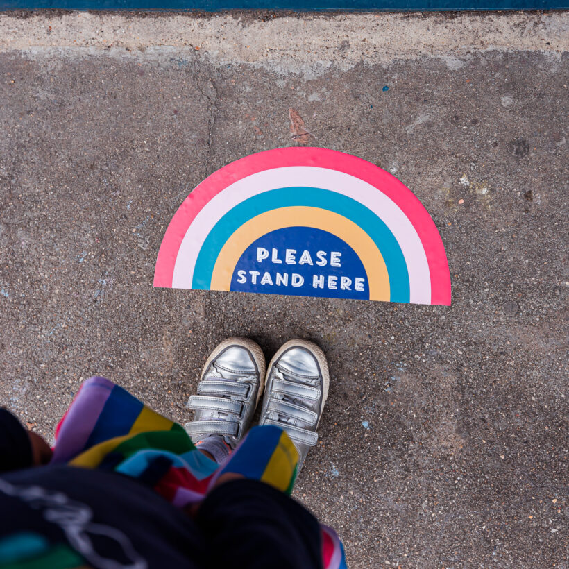 Please Stand here Rainbow Floor Stickers
