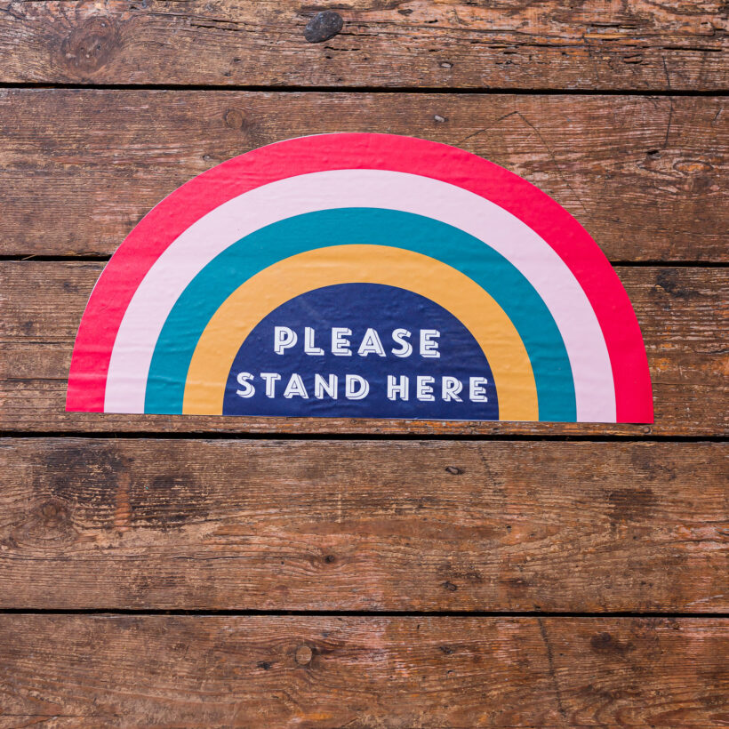 Please Stand Here Rainbow Stickers