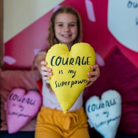 yellow courage heart cushion