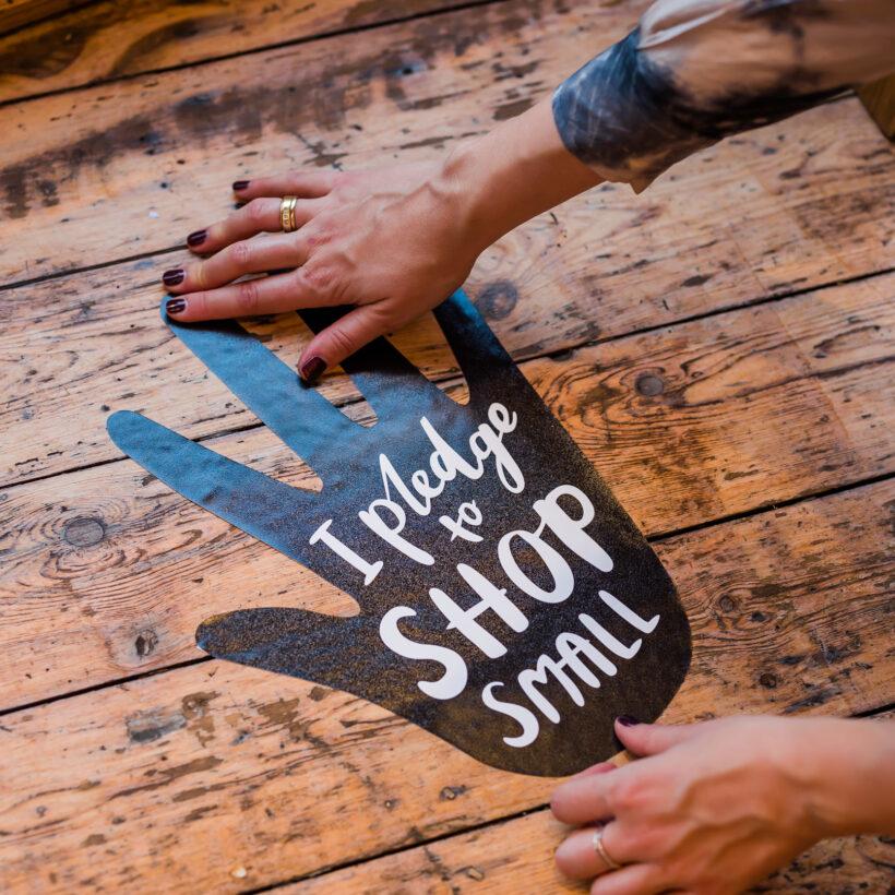 Pledge to Shop Small indoor floor sticker