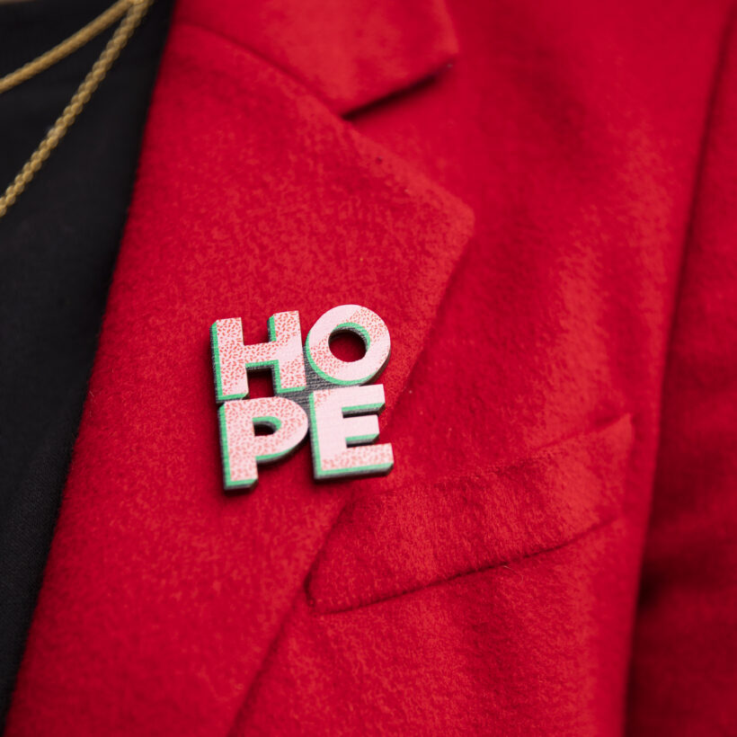 HOPE Wooden Pin Badge
