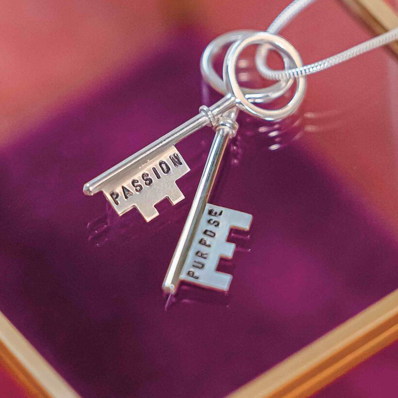 Silver Necklace with two keys embossed with the words Passion & Purpose