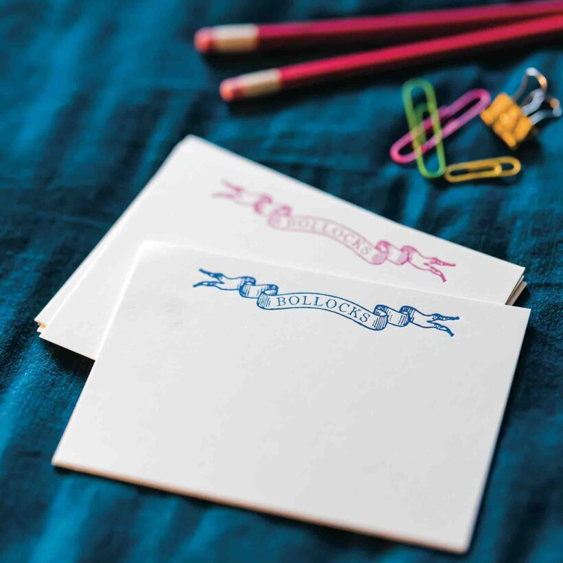 Letterpress Bolloxs Notecards